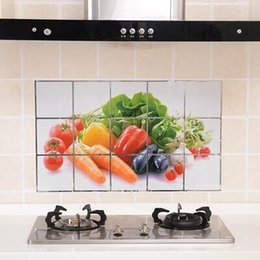 Wholesale Home Oil Sticker - Wholesale- CC001 75*45cm Kitchen Wall Stickers Foil oil sticker Decal Home Decor Art Accessories Decorations Supplies items Products