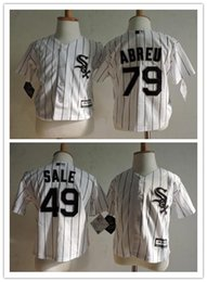 Wholesale Toddler Sale Jerseys - Baby Chicago White Sox 79 Jose Abreu Cool Base Jersey Home Blue Pinstripe Stitched Baseball Toddler 49 Chris Sale Preschool Jerseys Cheap