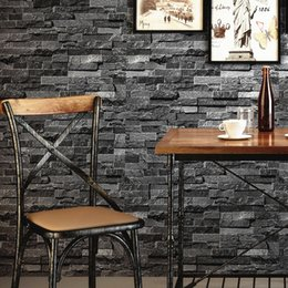 Wholesale Wallpaper Roll Grey - Retro Nostalgic Brick Wall Wallpaper Grey 3D Effect Stone Brick Wallpaper For Walls Roll Living Room Restaurant Wall Decoration