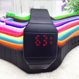 Wholesale Led Colour Watches - LED light silicone electronic watches Gift watch Casual watches Silicone strap Glass mirror multiple Colour Square