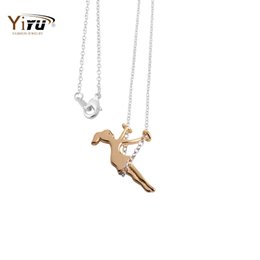 Wholesale Girl Swing Necklace - Tiny Girl Swing Necklace Women Pendants New Fashion Brand Gold  Silver Long Necklace Simple Dainty N016