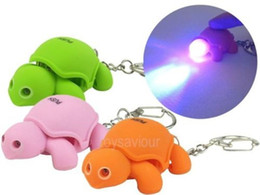 Wholesale Turtle Light Wholesale - Lovely Turtle Key Chain Ring with LED Light and Animal Sound Child Kid Toy gift
