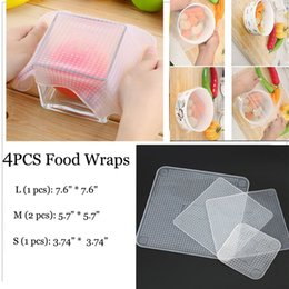 Wholesale Fresh Film - 4pcs set Silicone Reusable Food Wraps Seal Cover Stretch Cling Film Keep Food Fresh Shipping Free 170419