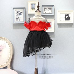 Wholesale Mesh Skirt Set - New arrived birthday party Fashion Girl Clothes set Black mesh T-Shirt + Tiered Tutu Skirts kids Dress Suits Children Outfit Baby wear A655