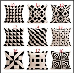Wholesale Knitted Cushion Cover For Beds - halloween Christmas black white pillowcase geometry Cushion covers Cotton linen pillow cover for Sofa bed Nordic Throw Pillow case 50pcs