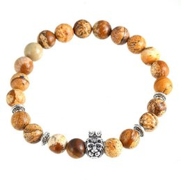 Wholesale Crown Picture - 2017 European Wind crown lion head Bracelet hand string natural picture stone burst Buddha beads bracelet
