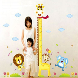 Wholesale Giraffe Wall Decals Stickers - Giraffe Measuring Height Wall Stickers Removable Wallpaper Children Kid Room Cute Hot - Sale Decor Large Decoration Adhesive