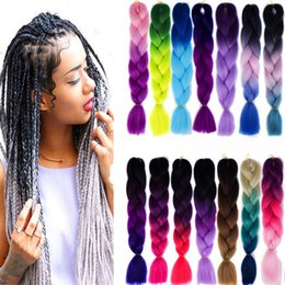 Wholesale Cheap Braided Hair Extensions - Synthetic Ombre Braiding Hair Extensions Kanekalon Crochet Braided Twist 100g 24 inch Cheap Two Tone Braid Hair For Black Women 62 Colors