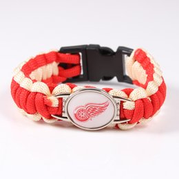 Wholesale China Nhl - Fashion Penguins Paracord Bracelet NHL Ice Hockey Team Sport Friendship Outdoor Camping Survival Bracelet Free Shipping