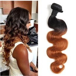 Wholesale Brazilian Hair Two Tone Weave - Brazilian Body Wave Human Virgin Hair Weaves Two Tone Ombre Color 1B 27 1B 30 Double Wefts Remy Hair Extensions
