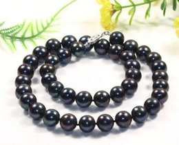 Wholesale Tahitian Black Pearls China - HOT SELL 18 INCH 10-11MM AAA TAHITIAN NATURAL BLACK PEARL NECKLACE 925 SILVER CLASP