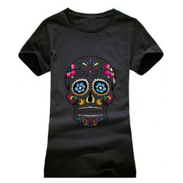 Wholesale Girls Skull T Shirt - Wholesale-Beautiful Skull Printing T shirt Women Fashion Camisetas T-Shirt Streetwear Cotton girls Summer Style top tees red black grey