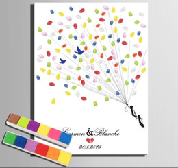 Wholesale Diy Printing Balloons - Balloon Flying Customized Name and Date Wedding Fingerprint Tree DIY Signature Guest Book Painting + 12 Colors Ink Pads As Wedding Memory