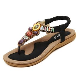 Wholesale National Adhesives - Free Shipping 2017 New National Style Women Sandals Bohemia Flats Beaded Size Foreign Trade Shoes Summer Shoes Women Shoes