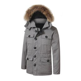 Wholesale Mens Green Parka - 2017 Brand New Mens thick Goose Down Banff Parka Coat Winter Warm Jacket Fire Rhinoceros with removable racoon fur jacket
