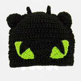 Wholesale Baby Dragon Hat - Free Shipping Toothless Hat from How to Train Your Dragon,Crochet Black Dragon Baby Boy Girl Beanie Cap,Newborn Cosplay Costume