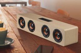 Wholesale Wood Box Speakers - 2017 Retro Wood Wireless Bluetooth Speaker Portable Speaker MP3 Computer Speakers Box 3D Loudspeakers 12W with Four speakers