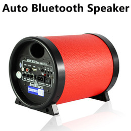 Wholesale Car Amplifier Wholesale - 5 inch Round Motorcycle Subwoofer Speaker Car Bluetooth Speaker Stereo Amplifier 12V 220V FM Radio Support 3.5MM Audio Device