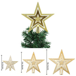 Wholesale Christmas Tree Cheap - Wholesale-1pcs New Gold Christmas Tree Topper Star Decoration XMAS Tree Ornament Xmas Tree Star cheap You can choose more than one size