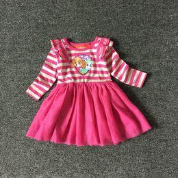 Wholesale Christmas Clothing For Dogs - New Spring Girls Tutu Princess Dress girl stripe dog tutu dress long sleeve clothing for 2~12 y