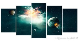 Wholesale Universe Pictures - YIJIAH Fashion Canvas Painting The universe galaxies Pictures Print On Canvas Large 5 Piece Wall Pictures For Living Room Bedroom Office D74
