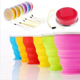 Wholesale Retractable Folding Cup - 5 Colors Silicone Folding Cups Vogue Outdoor Travel Camping Cups Retractable Cups Telescopic Drinking Collapsible Mugs CCA5500 100pcs
