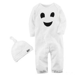 Wholesale Christmas Hats For Infants - Baby Holloween romper 2pc sets white boo printing twisted hat+ Ghost embroidery romper infants cute festivals onesie outfits for 1-2T