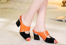 Wholesale Fish Tie - New Fashion Casual Wedge Women Slippers Shoes Fish Head Thick Big Yard Plus Size Roman Shoes Summer European shoe size: 35-42