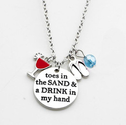 Wholesale Wholesale Glass Slippers - New Fashion Letter necklace toes in the sand a drink in my hand mixture beads cup Slipper pendant necklace for beach jewelry