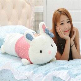Wholesale Bunny Pillow - Wholesale-60CM One Piece Soft Rabbit Plush Toys Creative Household Gift Cute Bunny Children Sleeping Pillow PP Cotton Stuffed Toy
