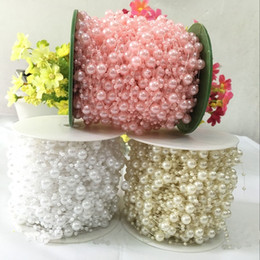 Wholesale Artificial Beads - 60 Meters Fishing Line Artificial Pearls Beads Chain Garland Flowers Wedding Decoration Event Party Supplies Beige White Pink