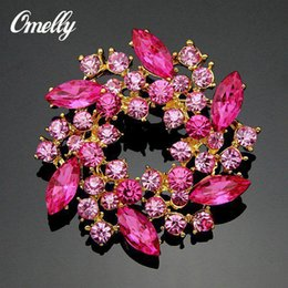 Wholesale Cheap Wholesale Rhinestone Brooches - Fashion Silver Gold Plated CZ Light Pink Crystal Brooches Pins Flower Rhinestone Bouquet Brooches Flower for Christmas Gift Cheap