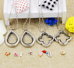 Wholesale Memories Lockets - Hot selling small lot novelty magnetic crystal DIY floating memory living locket pendant gift for girls women daughter with free chains