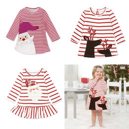 Wholesale Sleeve Girls Dresses Party - Baby Girls Christmas Party Cosplay Costume Princess Santa Claus Deer Elk Dress Stripe Long Sleeve Skirt