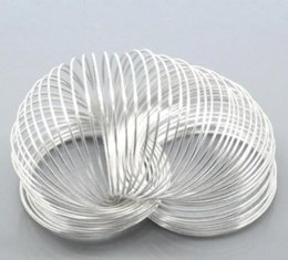 Wholesale Silver Plated Memory Wire - DoreenBeads Steel Wire Memory Beading Bracelets Components Round Silver Plated 5cm-5.5cm Dia, 15 Loops 2015 new