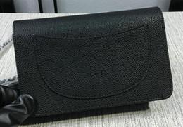 Wholesale evening bags stones - 48654 Black Lambskin Caviar Leather WOC Caviar Leather Mini Flap Shoulder Bag Chain Cowhide Messenger Bag Evening Bag 20CM 33814