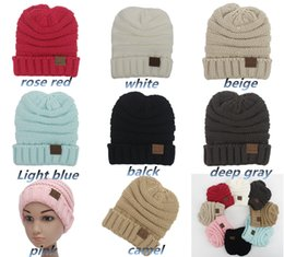 Wholesale Label For Cable - Winter Knitted Hats for Kids CC Trendy kid cap Label Fedora Luxury Cable Slouchy kid Hats Fashion Beanies Thick Warm Hat Outdoors LC466