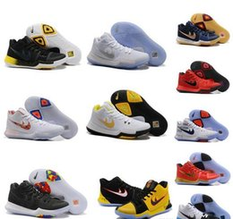 Wholesale Badge Leather - Wholesale Kyrie Irving Shoes Kryie 3 N7 Black Ice EYBL BADGE OF HONOR UNIVERSITY RED Kyries Basketball Sneakers for Sale