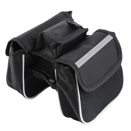 Wholesale Cycling Frame Pannier - Bicycle Cycling Frame Pannier Saddle Front Tube Bag Both Side Double Pouch free shipping