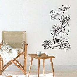 Wholesale Skull Wall Decals - Dangerous Flowers And Skull Wall Stickers Home Decor Vinyl Art Painting On The Wall Ornamentation Decal