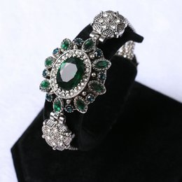 Wholesale Antique Snake Jewelry - Wholesale- Luxury brand emerald agate bracelet bangle for women vintage turkish antique silver jewelry with green zircon crystal