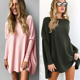 Wholesale T Shirt Dress Korean Style - 2017 New Long Sleeves Women T Shirt Scooped Cotton Mini Casual Sweatwear Dresses Mixed Color Loose Women Tops Korean Style Wholesale