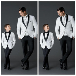 Wholesale wedding lapel - Custom Made 2018 New Fashion Groom Tuxedos Men's Wedding Dress Prom Suits Father And Boy Tuxedos (Jacket+Pants+Bow) Formal Wear Tuxedos