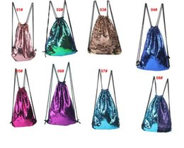 Wholesale Open Backpack - Sequins Backpacks Bags Mermaid Sequin Drawstring Bags Reversible Paillette Outdoor Backpack Glitter Sports Shoulder Bags Travel Bag