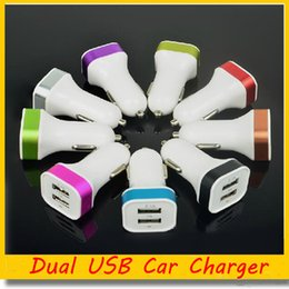 Wholesale Colorful Car Charger Android - Metal 2.1A Dual USB Car Charger Universal for iPhone Samsung Android Phones 2 Ports Colorful Chargers Free DHL Ship