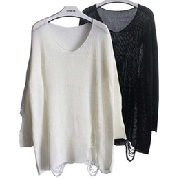 Wholesale Batwing Loose Fitting - Wholesale-SW125 Women's Batwing Sleeve Destroyed Ripped Slouchy Sweater Pullover Hollow Out Loose Fit Jumper Tops Knitwear