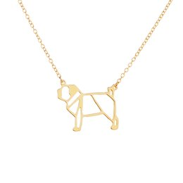 Wholesale Wholesale Origami Necklaces - Fashion origami pug Necklace Geometric jewelry drop ship cute dog pendant necklace Animal lover gift for ladies