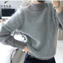 Wholesale Gray Sweater Coat - Wholesale- New Winter 2015 Women Cotton Knitted Sweaters High Neck Twisted Long Sleeve Loose Casual Thick Warm Gray Pullovers Coats Ladies