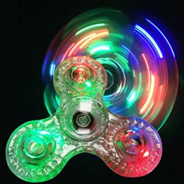 Wholesale Toys Ants - Diamond Crystal Jelly LED Fidget Spinner Clear Transparent Tri-Spinner EDC Hand Spinner Ant-stress Fidget Spinners Toys OTH493