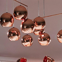Wholesale dixon ball - Tom Copper Fashion Glass Ball Dixon Bubble Best Ceiling Lighting Pendants Lamp E27 220V 110V Gold Copper Silver Multi Size Pendant Lamps